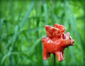 Glücksschwein Gartenkeramik