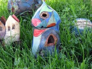 Windlicht Haus Gartenkeramik Handarbeit Keramik Unikat