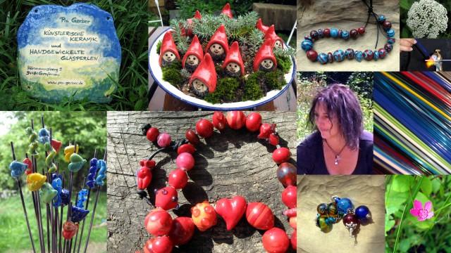 Gartenkeramik Wichtel Zaunhocker Halsketten Armbänder Deko Keramikzwerge - Keramikschilder - Keramik Gartenstecker - Glasperlenketten - Glasohrringe
