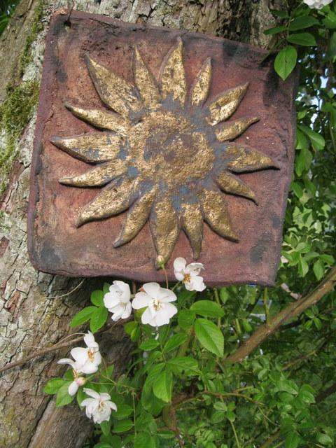 Sonne Gartenkeramik Keramik Skulptur Deko Unikat