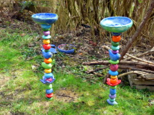 Gartenstab Vogeltränke Keramik Unikat Handarbeit